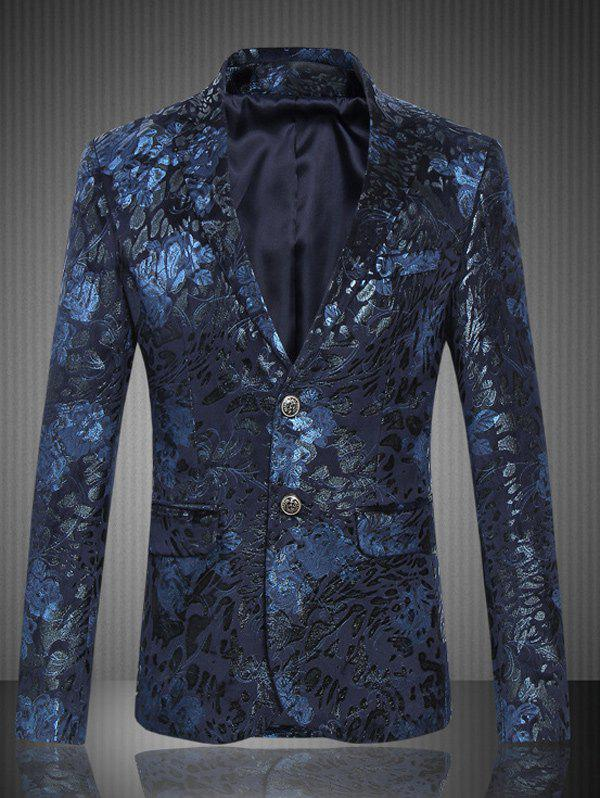 Lapel Single Breasted Flap Pocket Jacquard Blazer single breasted lapel flap pocket business blazer