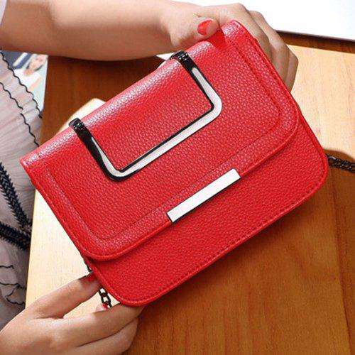 Metal Chains Flap Crossbody Bag - RED