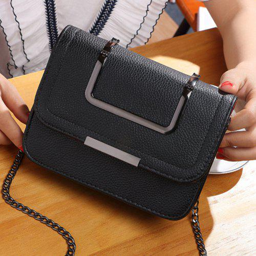 Metal Chains Flap Crossbody BagBags<br><br><br>Color: BLACK