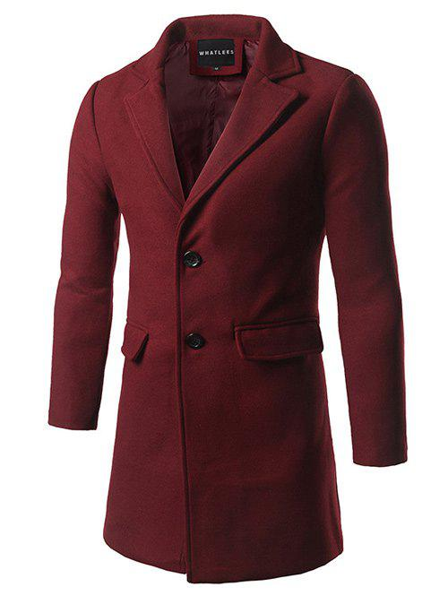 Single Breasted Back Vent Flap Pocket Woolen Coat - DEEP RED M