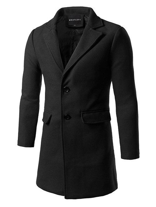 Single Breasted Back Vent Flap Pocket Woolen Coat - BLACK 2XL