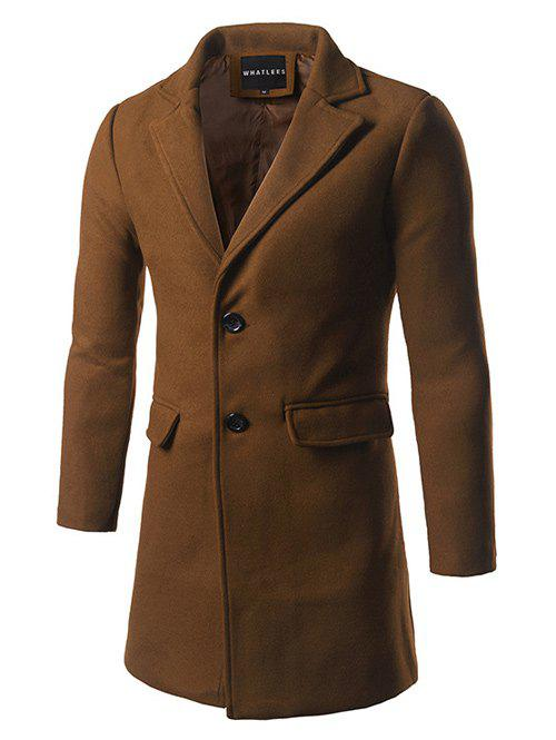 Single Breasted Back Vent Flap Pocket Woolen Coat - KHAKI XL
