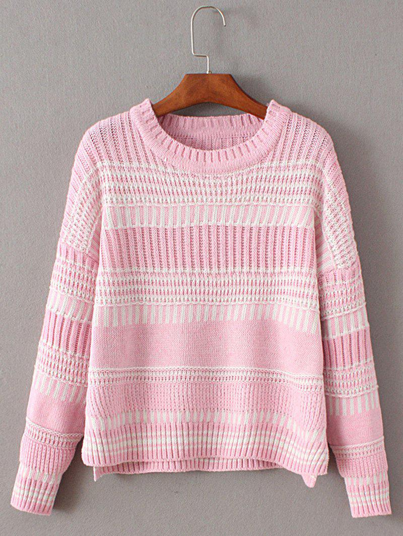 Crew Neck High Low Pullover Chunky Sweater high low hem chunky sweater