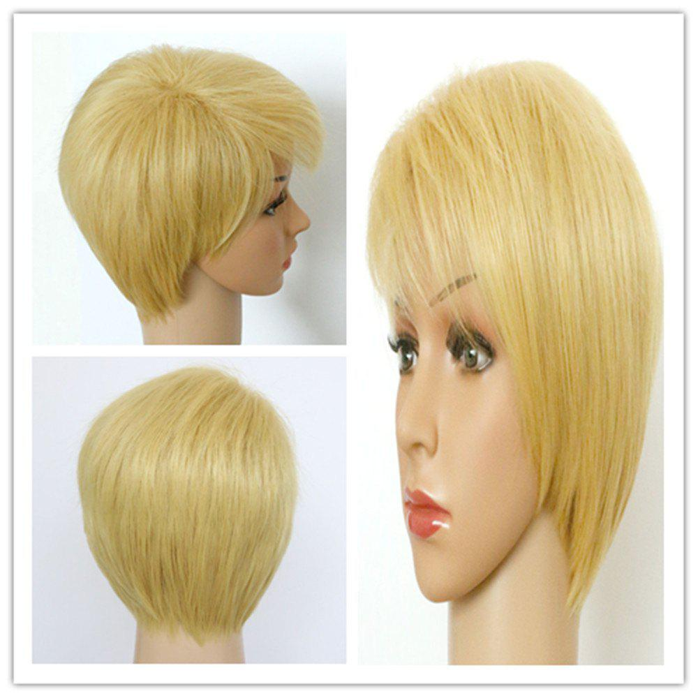 Refreshing Women's Short Fluffy Light Blonde Side Bang Synthetic Hair Wig - LIGHT GOLD