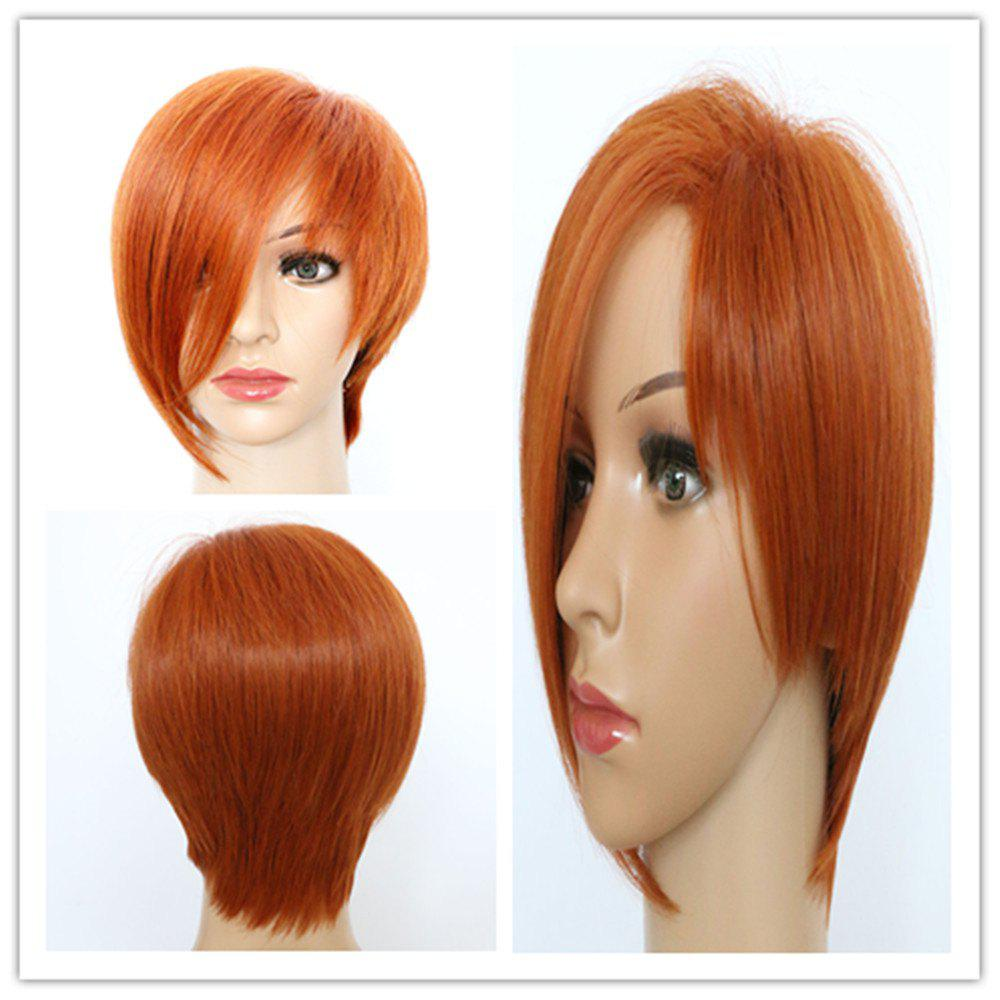 Vogue Women's Short Fluffy Auburn Brown Side Bang Synthetic Hair Wig - AUBURN BROWN