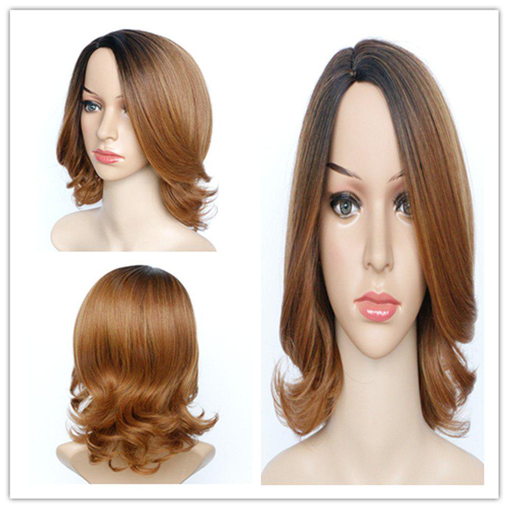 Graceful Womens Medium Fluffy Mixed Color Wavy Side Parting Synthetic Hair Wig