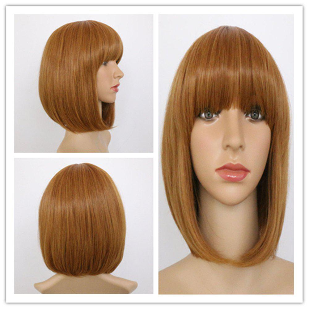 Charming Synthetic Short Straight Full Bang Women's Mixed Color Hair Wig
