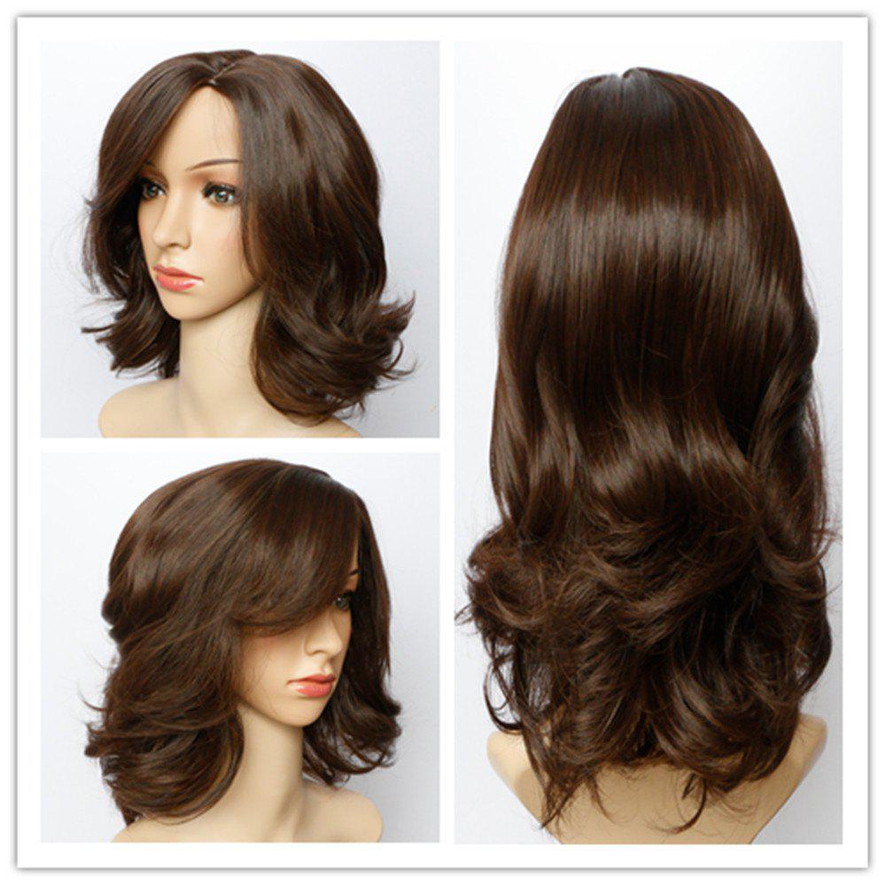 Stunning Dark Brown Short Synthetic Fluffy Wave Capless Wig For Women - DEEP BROWN