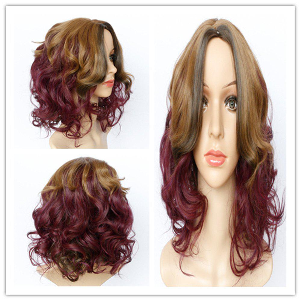 Shaggy Wave Long Fashion Blonde Mixed Purple Synthetic Wig For Women - COLORMIX