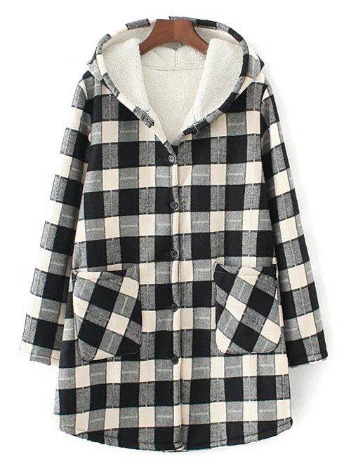 Hooded Checked Borg Lined Coat hooded checked borg lined coat