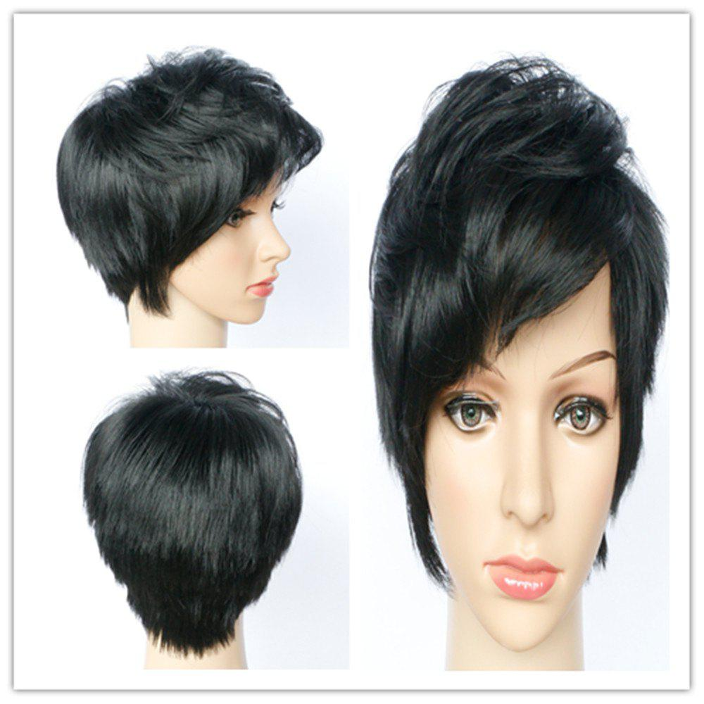 Stylsih Short Boy Cut Synthetic Black Straight Women's Capless Wig - BLACK