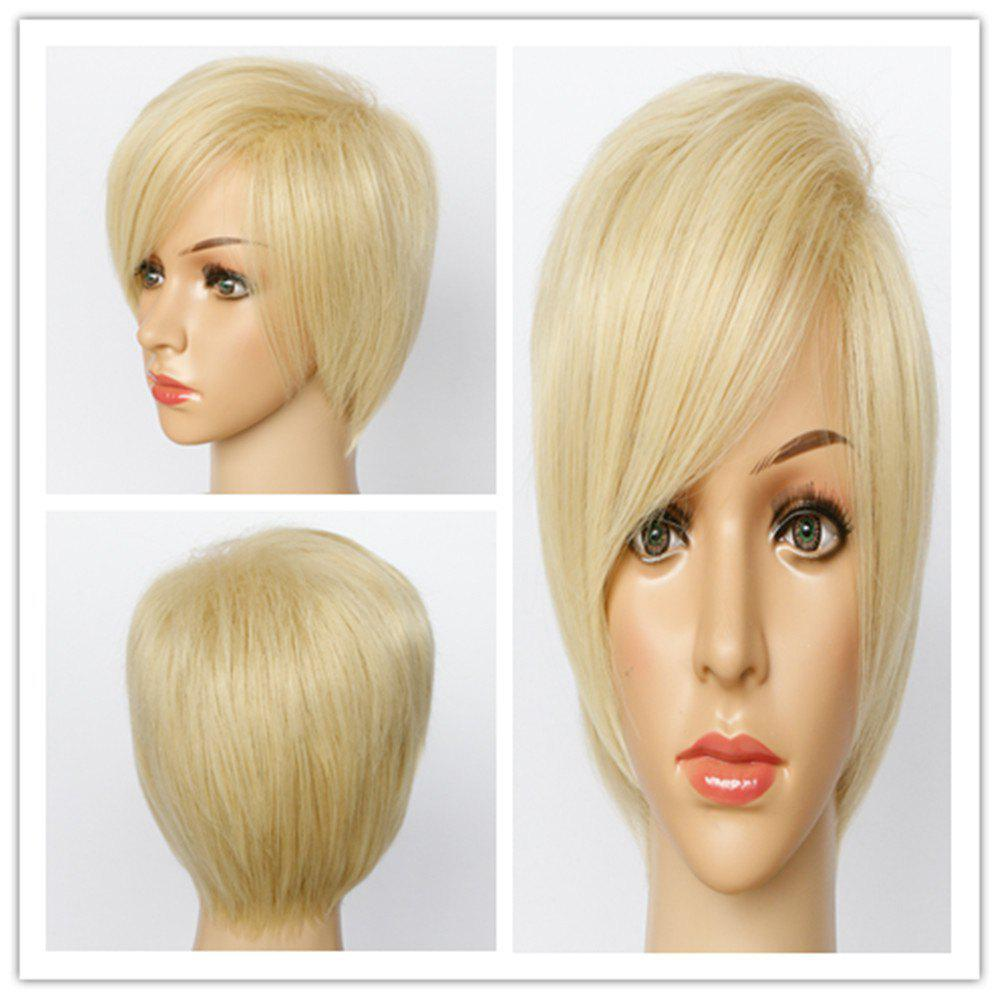 Spiffy Straight Blonde Mixed Synthetic Fluffy Short Pixe Cut Capless Wig For Women -  COLORMIX
