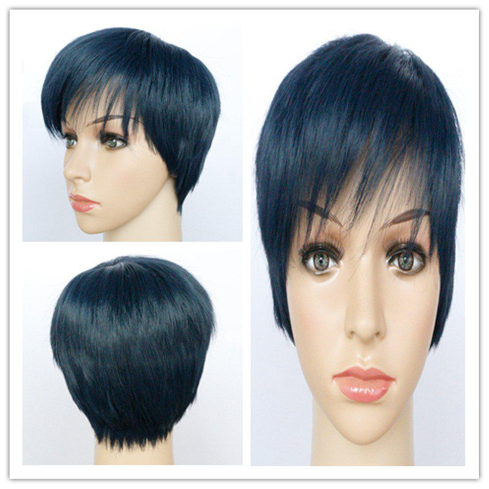Fashion Short Boy Cut Capless Black Blue Straight Synthetic Wig For Women