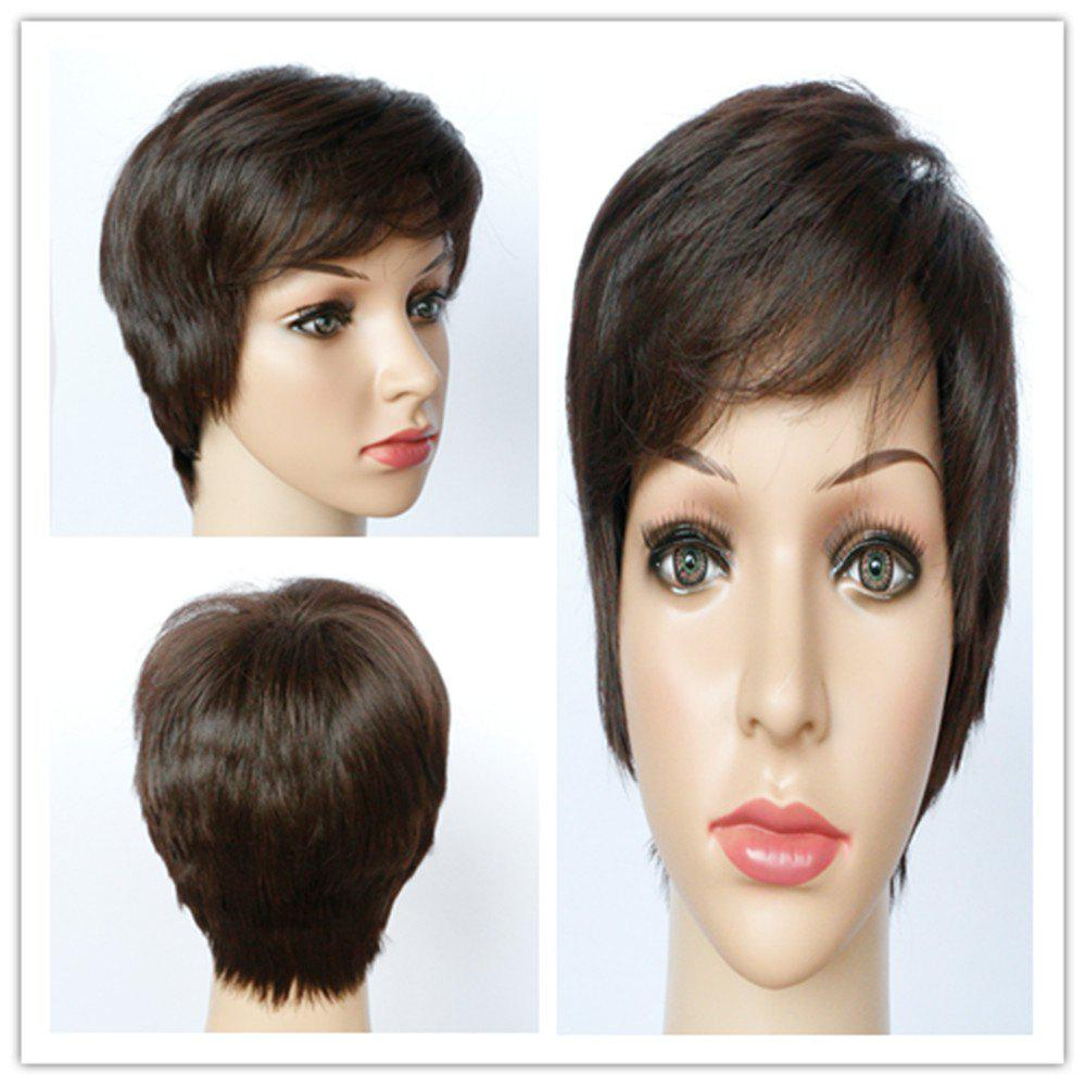 Refreshing Ultrashort Boy Cut Synthetic Fluffy Straight Layered Brown Women's Wig - BROWN