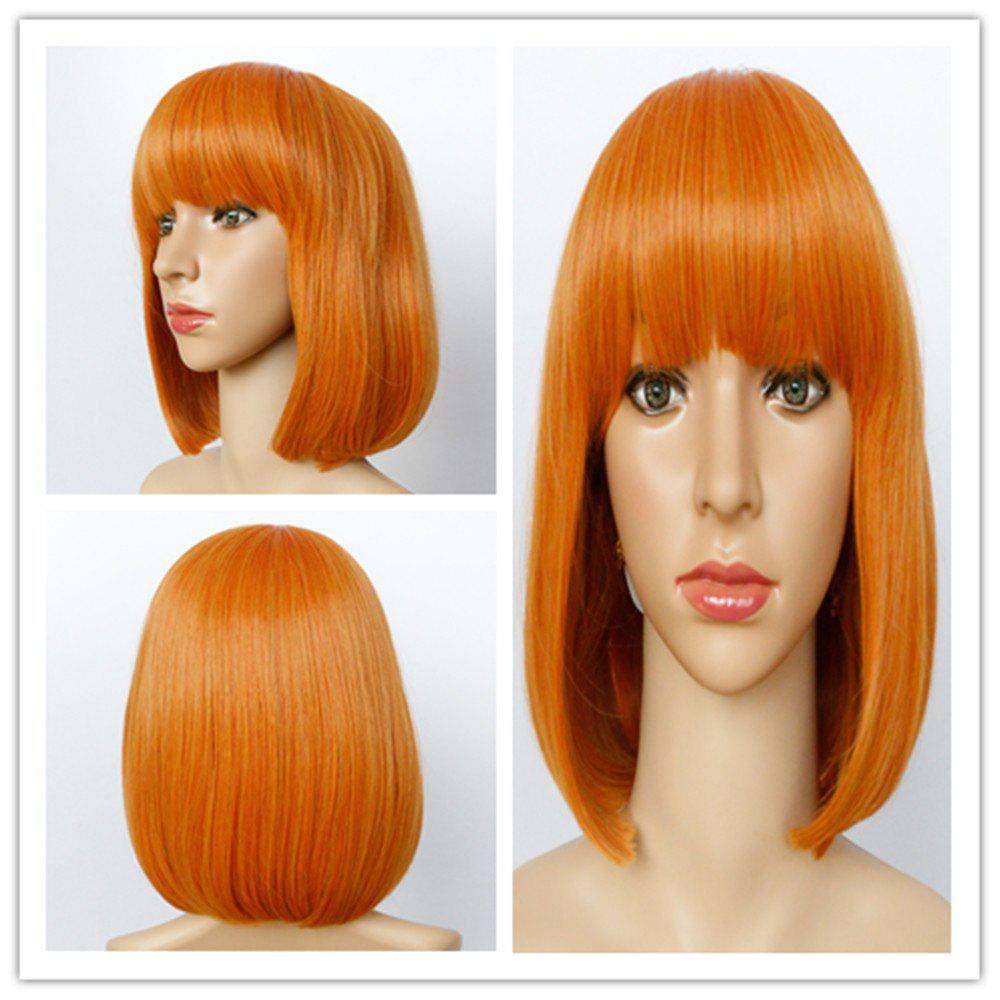 Bob Hairstyle Straight Capless Fashion Short Full Bang Women's Synthetic Wig - DARK ASH BLONDE