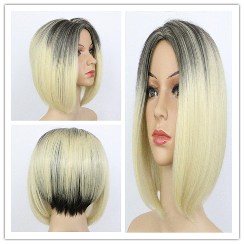 Graceful Straight Synthetic Short Asymmetric Black Blonde Mixed Capless Wig For Women - COLORMIX