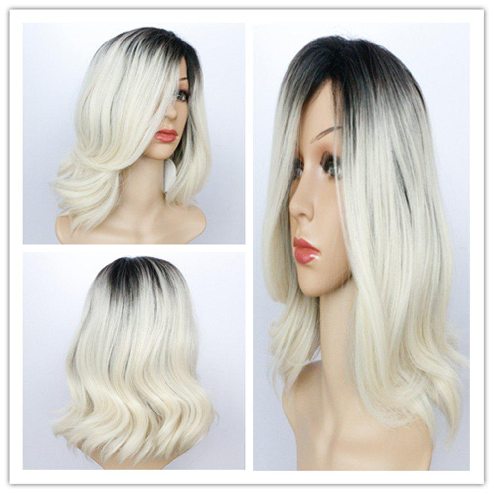 Elegant Ombre Color Medium Synthetic Fluffy Natural Wave Side Bang Wig For Women - COLORMIX
