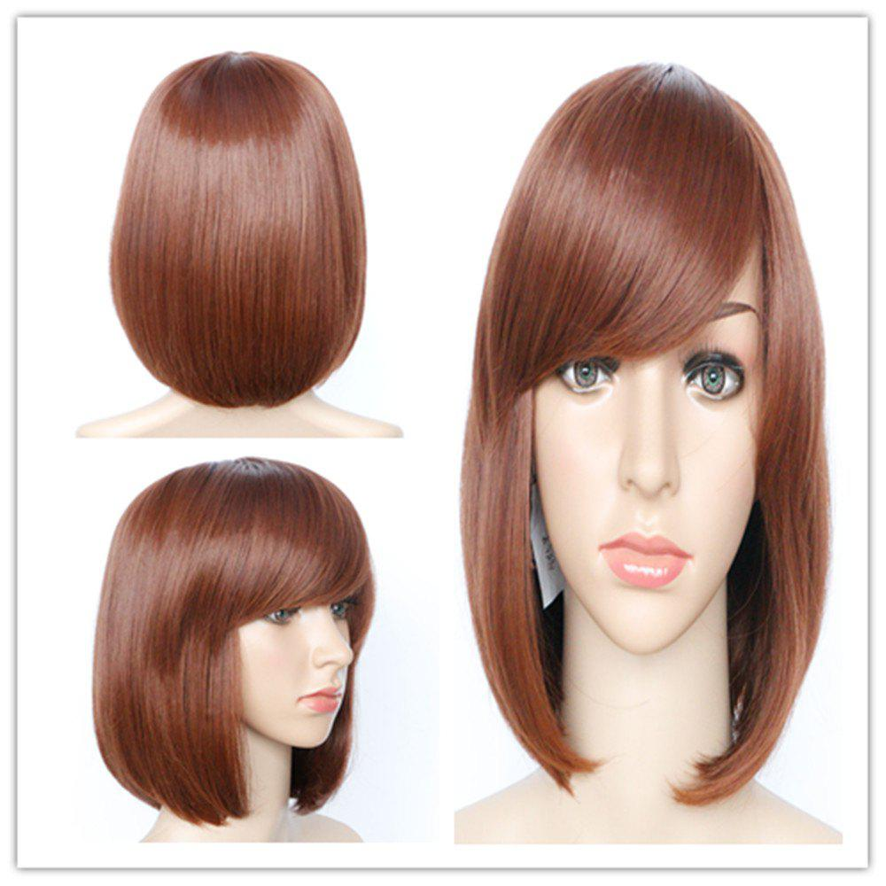 Bob Style Side Bang Capless Stylish Brown Side Bang Synthetic Wig For Women - BROWN