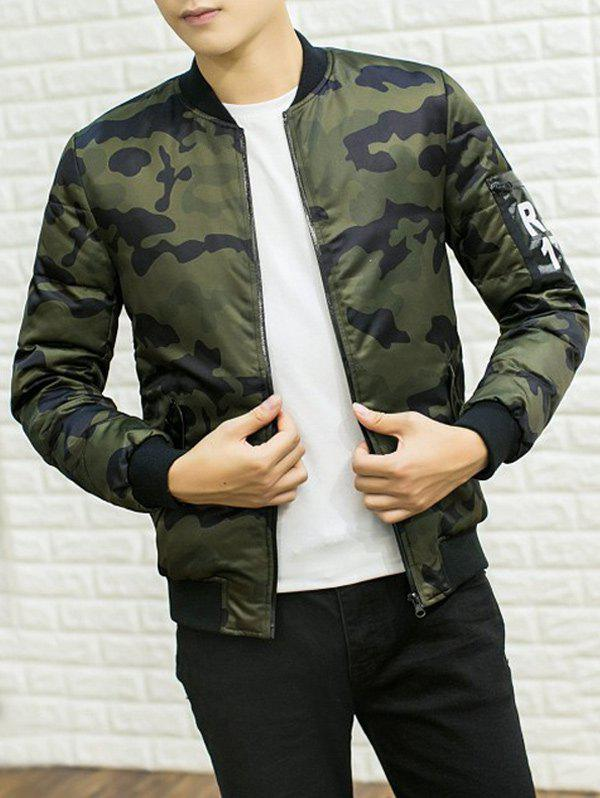 Buy Stand Collar Camouflage Pattern PU Applique Cotton Padded Jacket ARMY GREEN