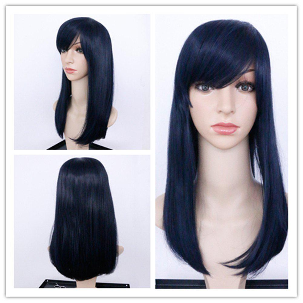 Charming Straight Black Capless Long Full Bang Synthetic Wig For Women - BLACK
