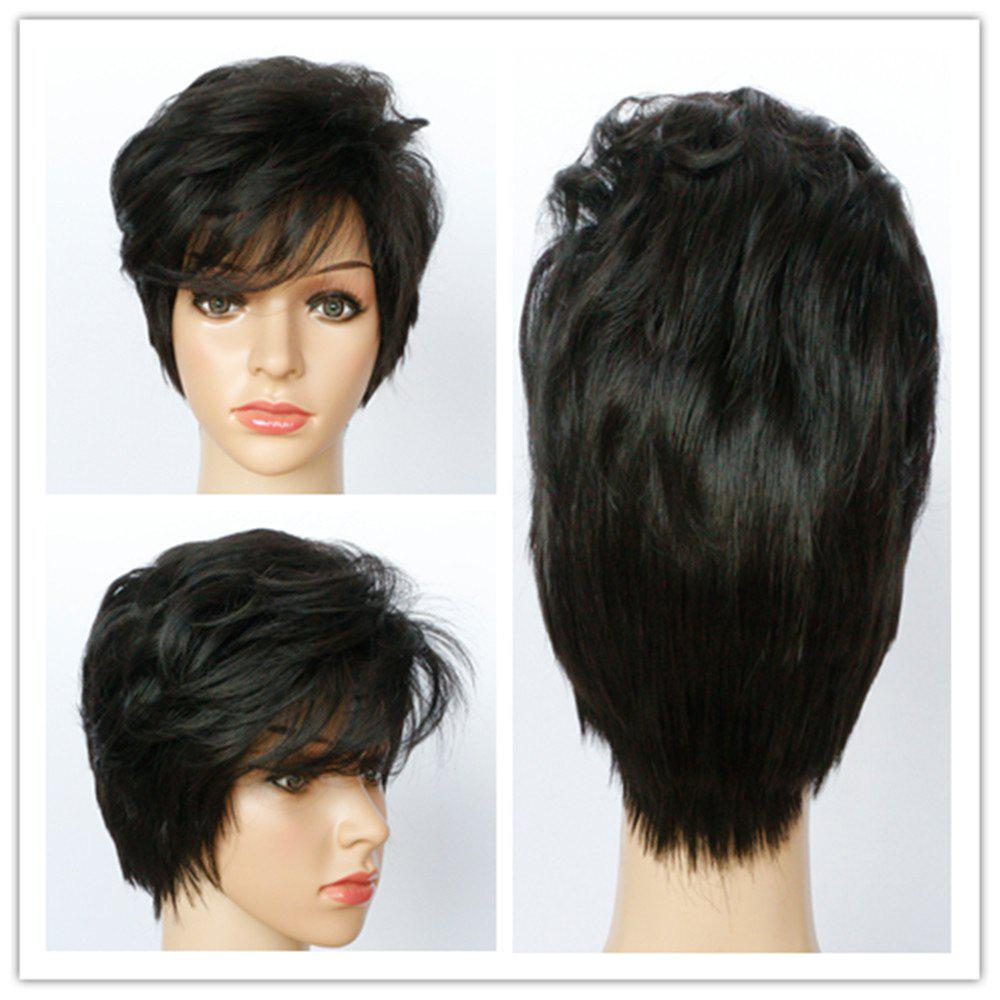 Vogue Natural Black Side Bang Synthetic Fluffy Curly Short Capless Wig For Women - BLACK