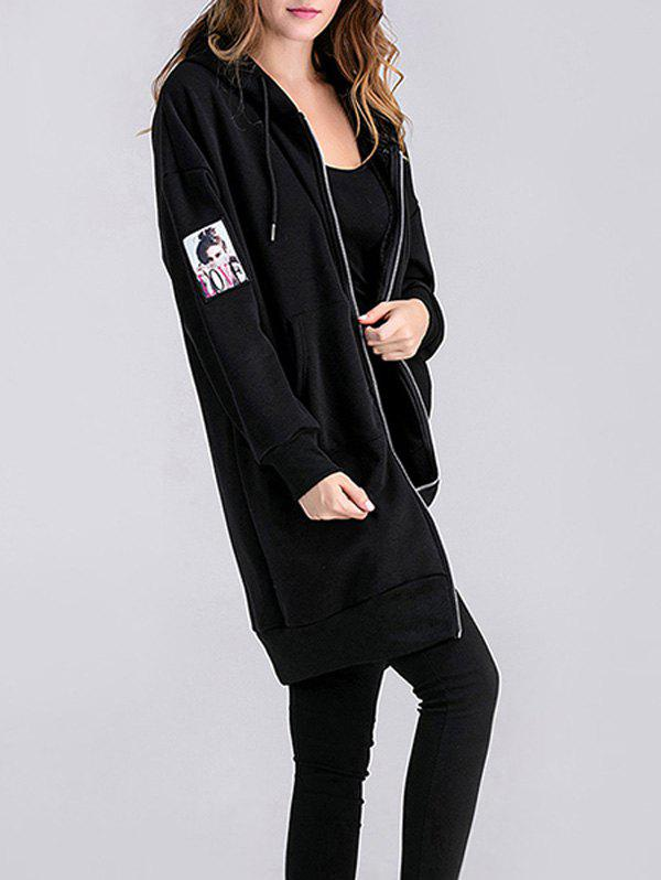 Applique Zipped Maternity Longline Hoodie