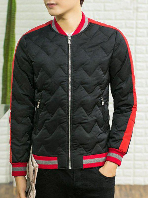 Stand Collar Color Block Spliced Waviness Cotton Padded Jacket