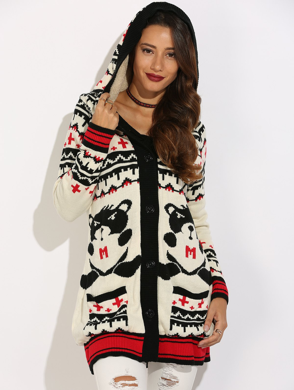 Hooded Cartoon Geometric Graphic Knit Cardigan - WHITE S