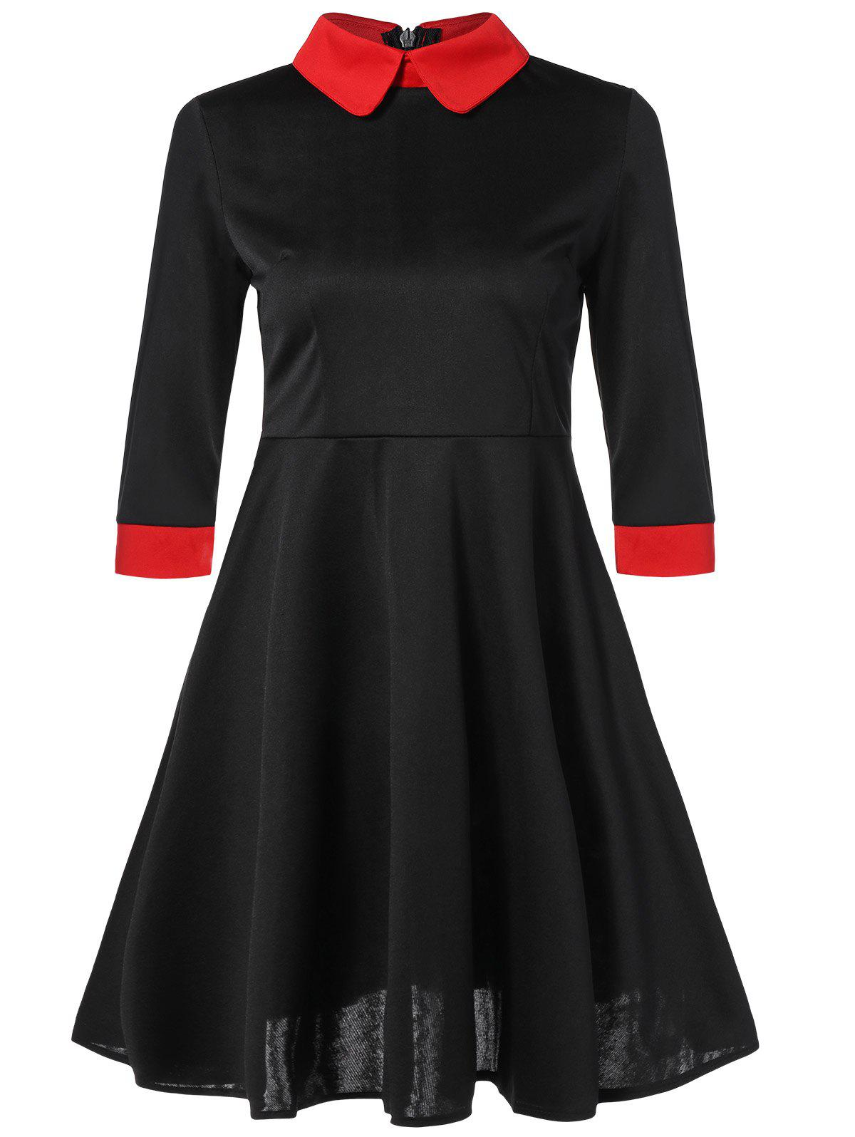 Contrast Trim Fit and Flare Dress - BLACK XL