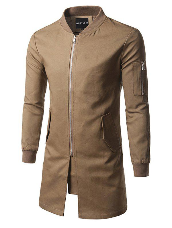 Rib Cuff Stand Collar Zippered Pockets Coat - KHAKI 2XL