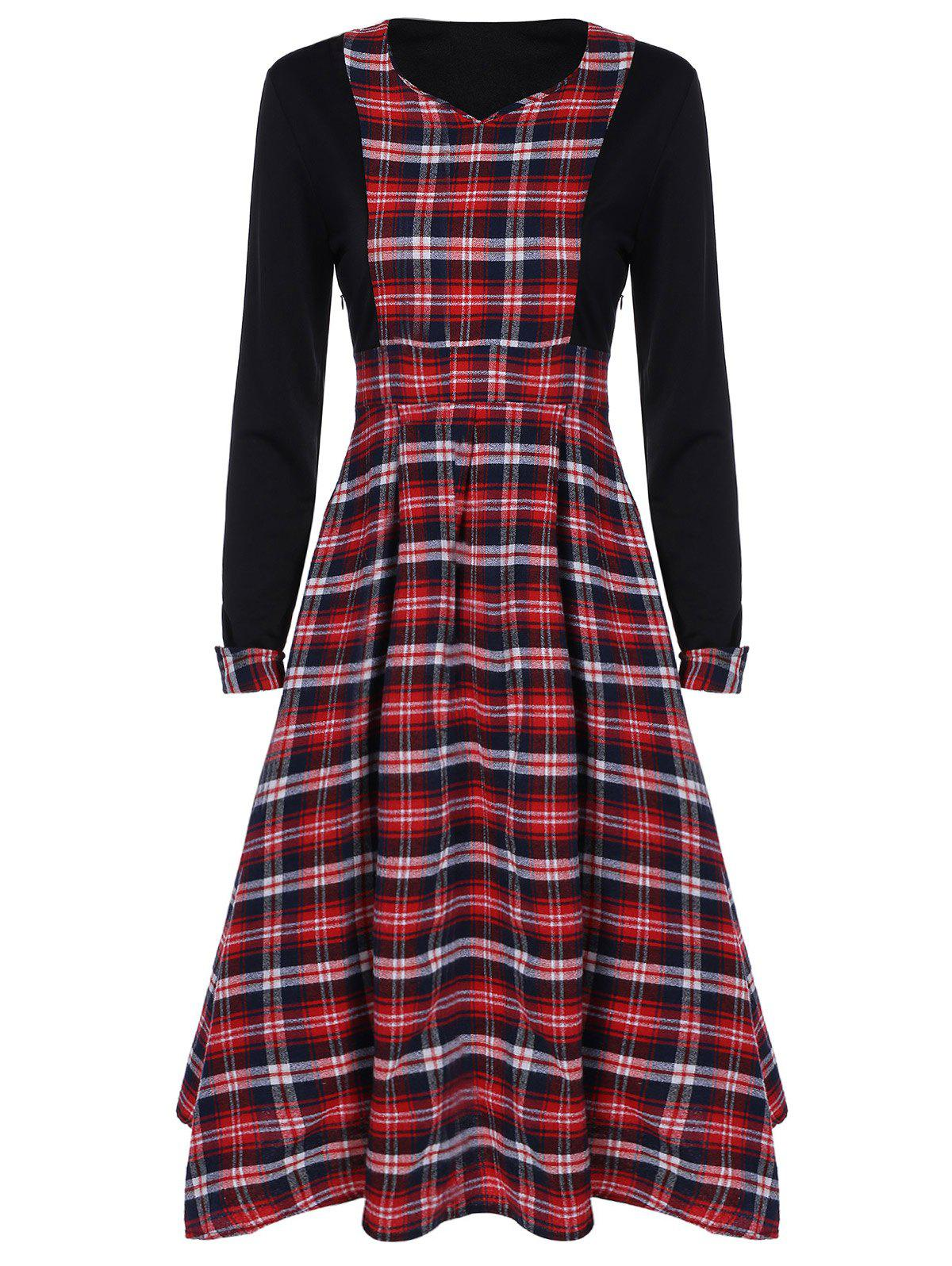 Scottish Plaid Patch Design Long Sleeve Vintage Dress - RED/BLACK 2XL
