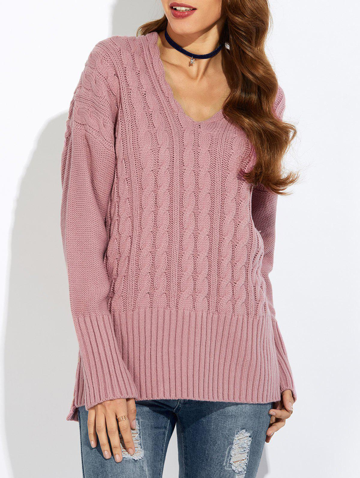 V Neck Drop Shoulder Pullover Cable Knit Sweater цена