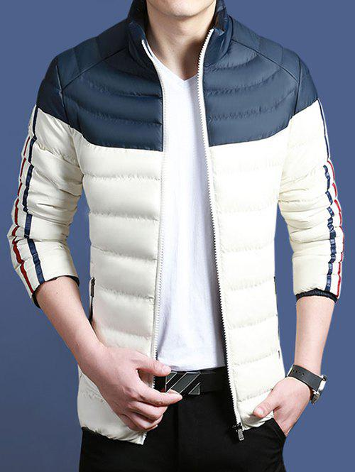 Color Block Striped Zip Up Padded Jacket - DEEP BLUE M