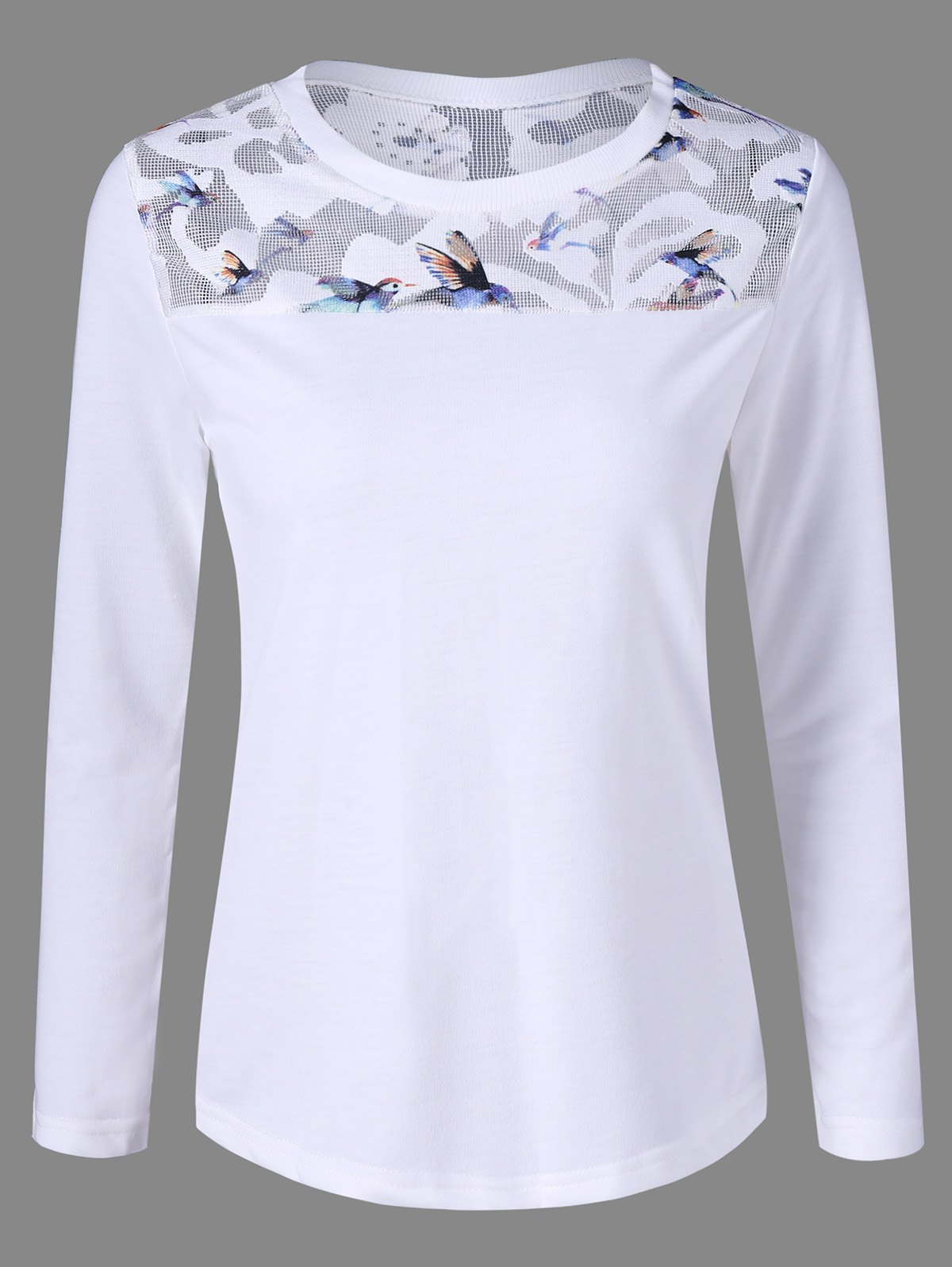 Birds Print TeeWomen<br><br><br>Size: ONE SIZE<br>Color: WHITE