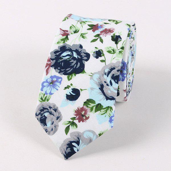 Casual Flower Shivering Printed Neck Tie - WHITE