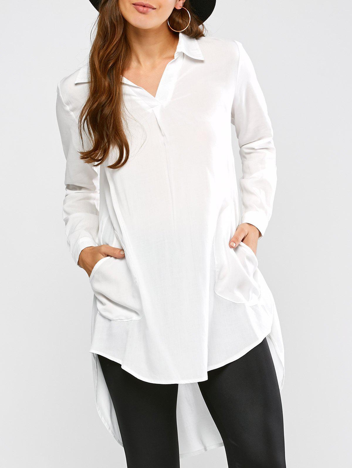 Longline High Low Blouse - WHITE M