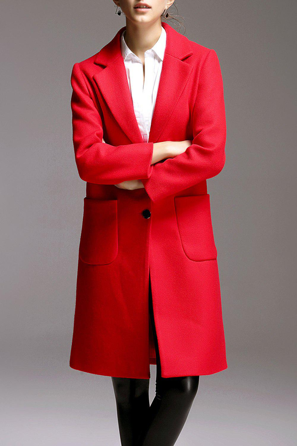 Knee Length Wool Blend Walker Coat, Red