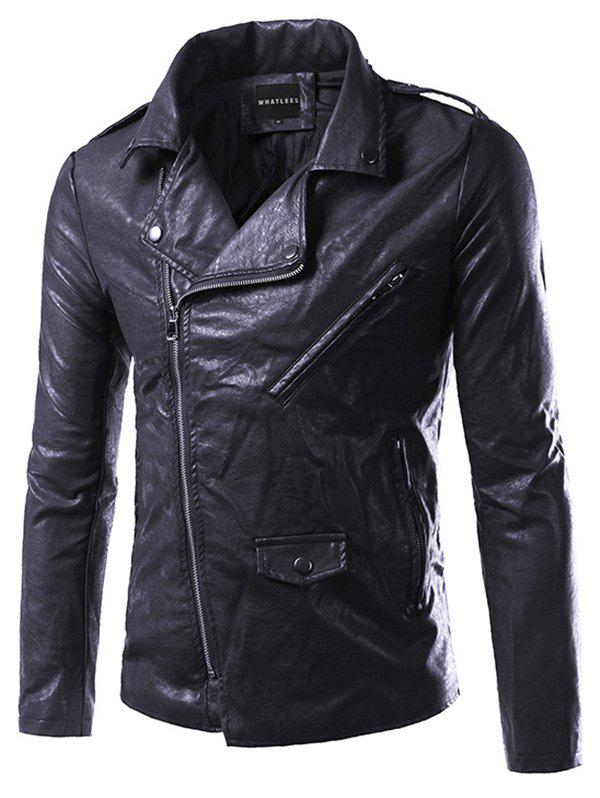 Side Zip Up Epaulet Design Pocket Faux Leather Jacket - BLACK 4XL