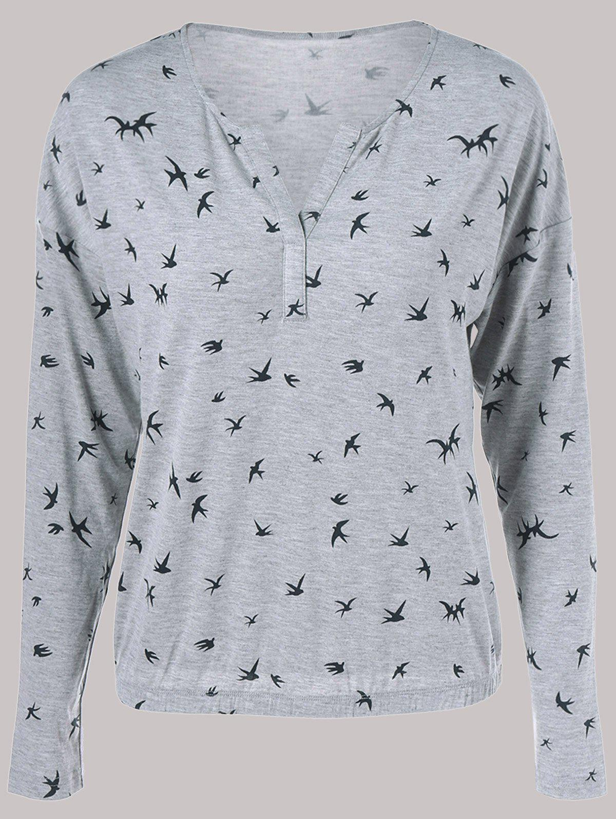 Swallow Print TeeWomen<br><br><br>Size: M<br>Color: LIGHT GRAY