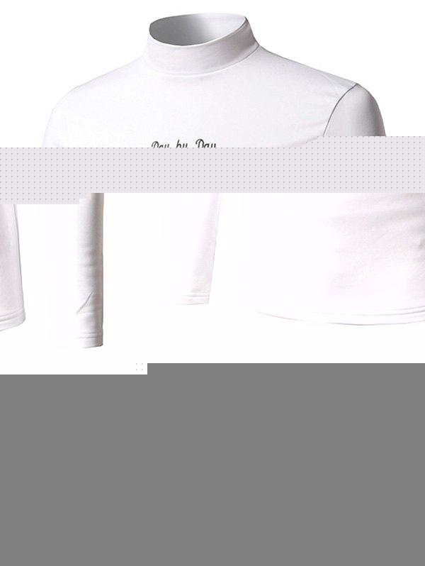 Stand Collar Long Sleeve Embroidered T-Shirt