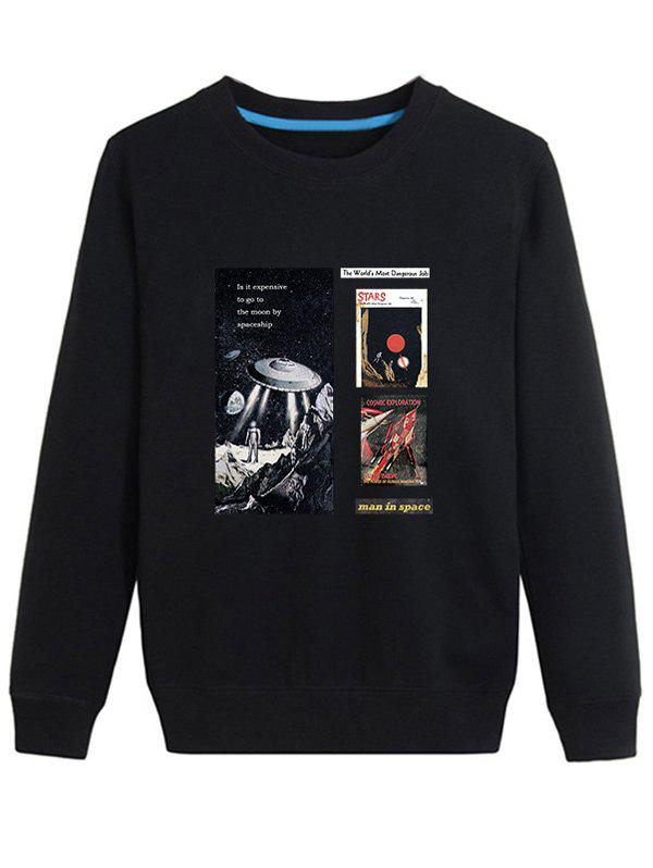 Outer Space Print long Sleeve Sweatshirt - Noir 4XL