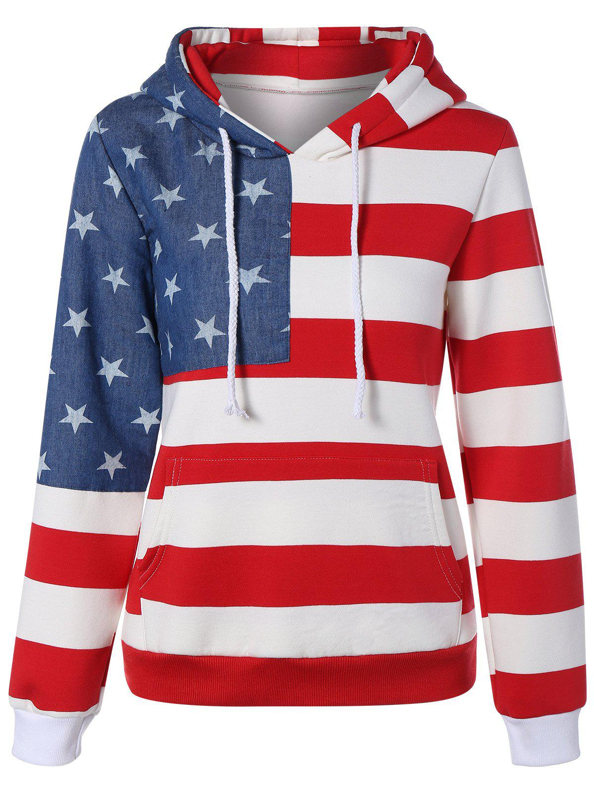American Flag Printed Kangaroo Pocket Drawstring HoodieWomen<br><br><br>Size: 2XL<br>Color: BLUE AND RED