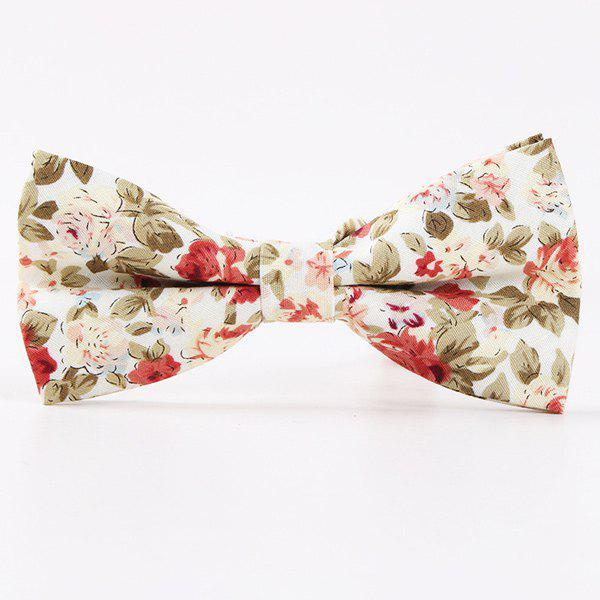 Retro Floral Printed Bow Tie - WHITE