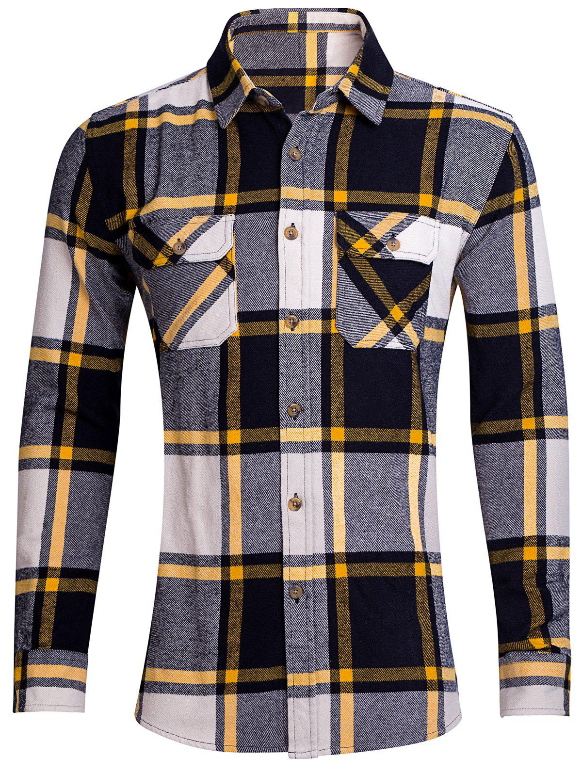 Button Up Chest Pocket Plaid Shirt - YELLOW XS
