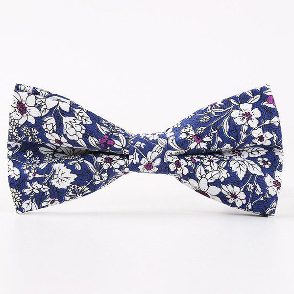 Casual Floral Shivering Printed Bow Tie - BLUE