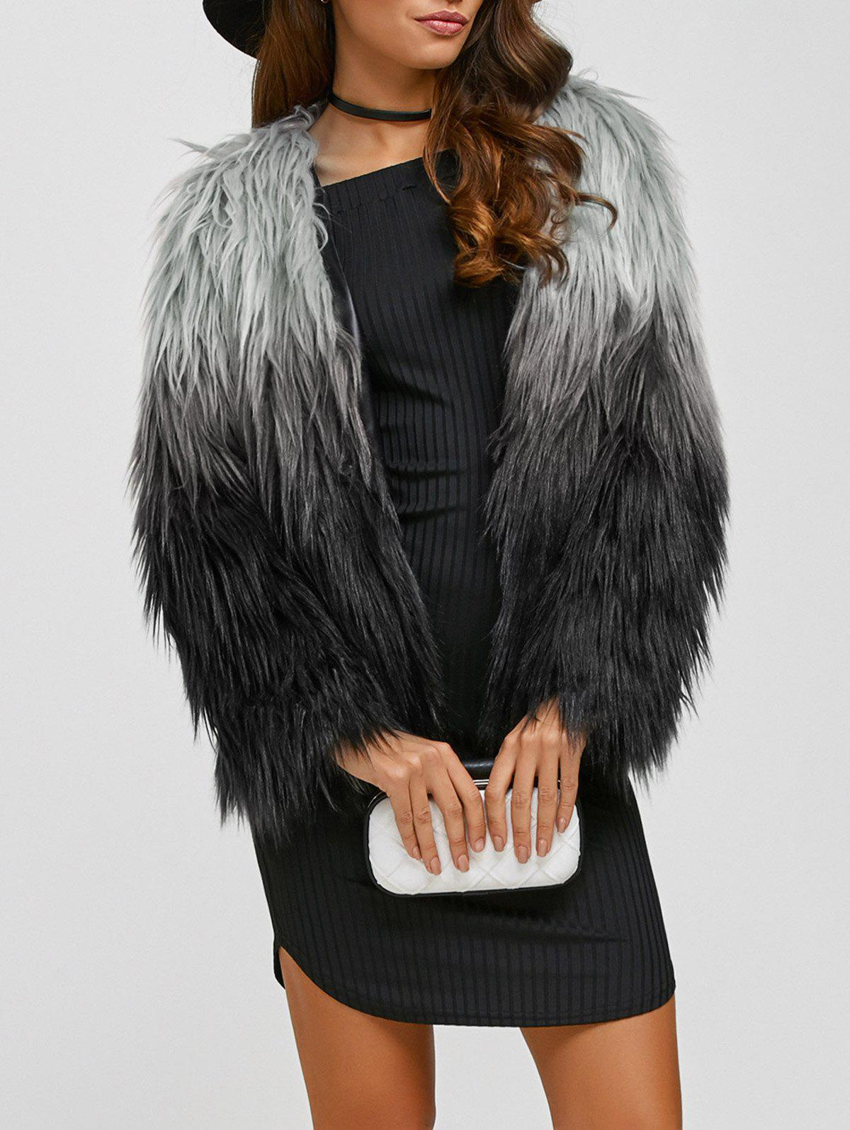 Collarless Ombre Faux Fur Coat - BLACK 2XL