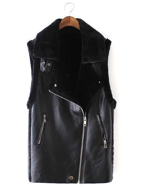 Slim Oblique Zipper Faux Leather Waistcoat - BLACK M