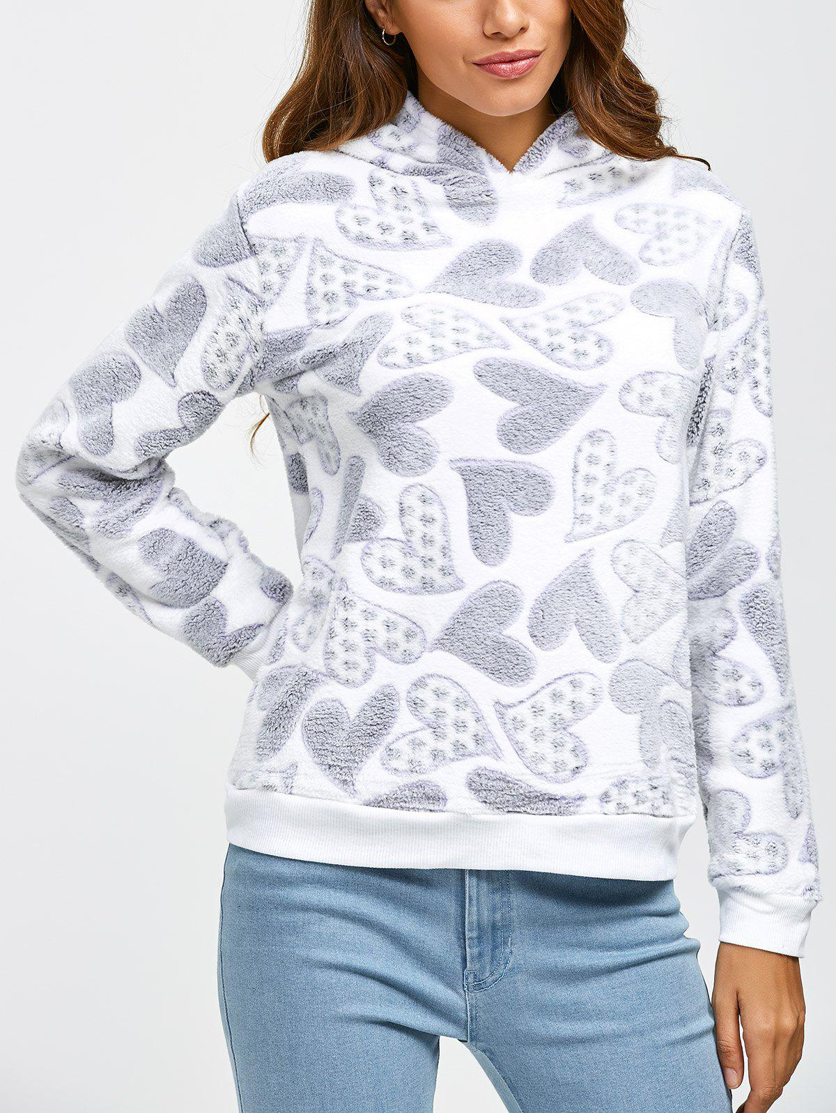 Fleece Hearts Graphic Pullover Hoodie fun at the fair