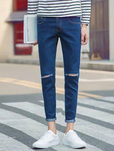 Slim Fit Zipper Fly Jeans with Knee Rips slim fit zip fly jeans with knee rips