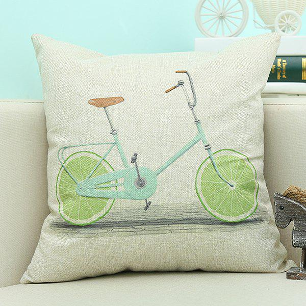 Home Decor Lemon Bike Printed Cushion Linen Pillow Case bike case